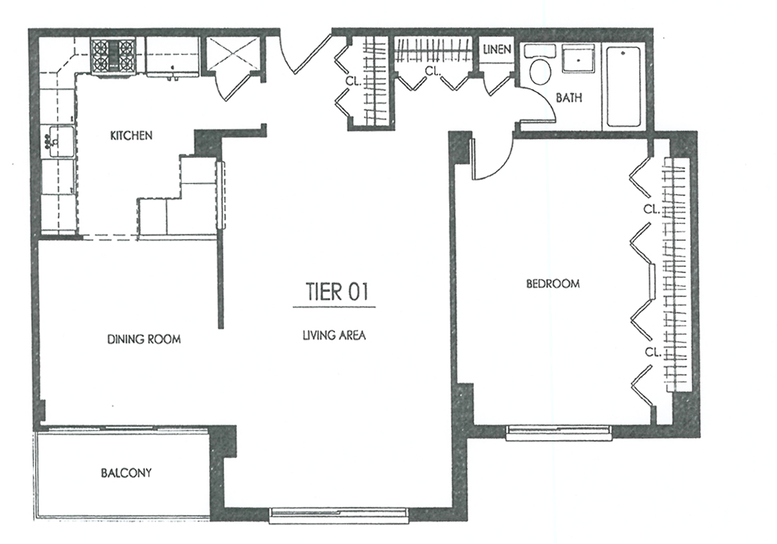 One Bedroom with Balcony   Floor Plans. Hampshire Tower Apartments